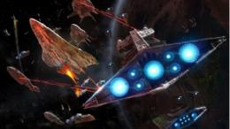 Star Destroyers battle Corellian Corvettes.
