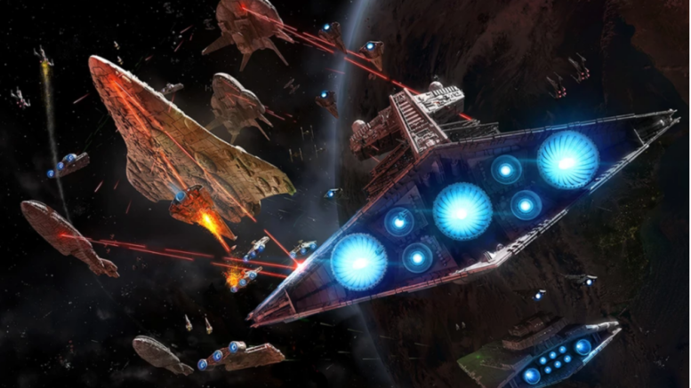 Star Destroyers battle Corellian Corvettes.